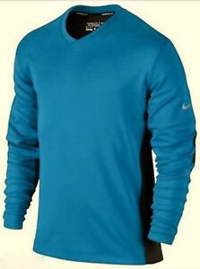 NIKE GOLF Dri Fit Wool Tech LS V Neck Blue Black Pullover Sweater Shirt Mens M