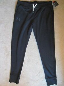 WOMENS UNDER ARMOUR BLACK FITTED ELASTIC WAISTBAND SWEATPANTS PANTS LARGE NWT