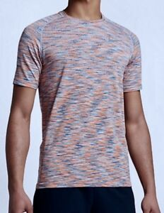 NIKE Dry Knit Seamless Dri Fit SS Running Top Shirt Blue Orange Whit NEW Mens M