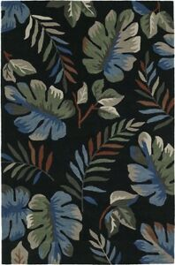 Black Canopy Leaves Palm Trees Tropical Area Rug Floral MM1