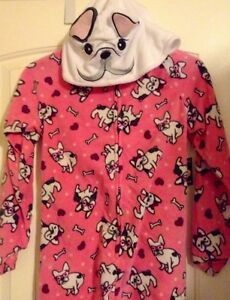 Joe Boxer French Bulldog Hooded Footed Pajamas Costume Dog M L or XL LAST ONES