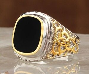 turkish jewelry 925 Sterling Silver black onyx  stone Mens ring ALL SİZE us #99