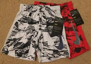 NWT *NIKE* Boys Gray Black Red Dry Fit Basketball Shorts 3T SET OF 2!