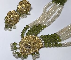 ANTIQUE 22K YELLOW GOLD PERIDOT & PEARL EARRINGS NECKLACE SET INDIAN WEDDING