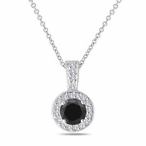 Platinum Enhanced Fancy Black Diamond Pendant Necklace 1.23 Carat Handmade