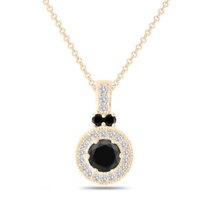 Enhanced Black Diamond Pendant Necklace Halo Pave 14K Yellow Gold 1.38 Carat