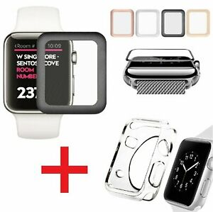 Apple Watch Series 3  2 Tempered Glass Screen Protector + Soft TPU Case 3842mm