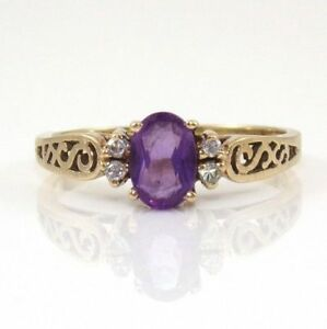 Vintage Solid 10K Yellow Gold Purple Amethyst Natural Diamond Ring Size 6.25