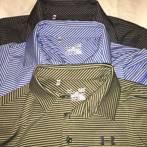 Under Armour HeatGear Lot of 3 Polo Golf Shirts S Small SM Stripes Loose Wicking