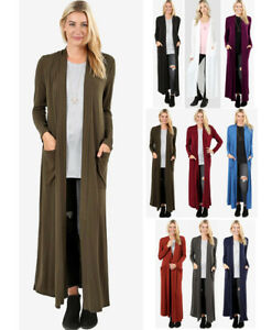 Women's Full Length Maxi Cardigan Duster Open Front Sweater Long Sleeve Solids