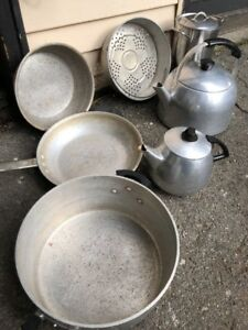 Vintage Aluminum Camping Wear Ever Commercial Cookware Hunting Ice Fishing Work