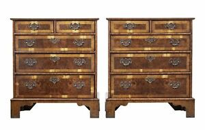 PAIR OF WALNUT AND BURR SMALL CHEST OF DRAWERS