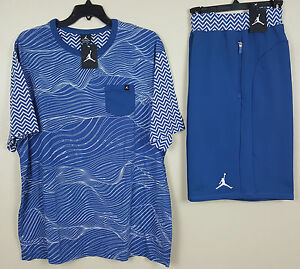 NIKE JORDAN XII 12 OUTFIT SHIRT + SHORTS FRENCH BLUE SET RARE NEW (SIZE 3XL 2XL)