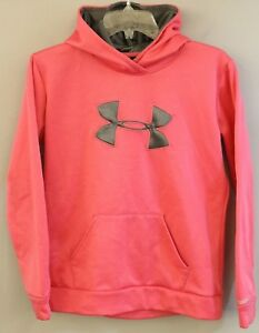 UNDER ARMOUR Size XL Youth Girls Hot Pink Gray Large Logo Hoodie Jacket