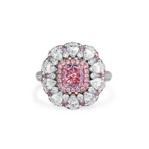 4.22Ct Fancy Purple Pink Halo Diamond Ring SI2 Cushion Cut 18K White Gold GIA