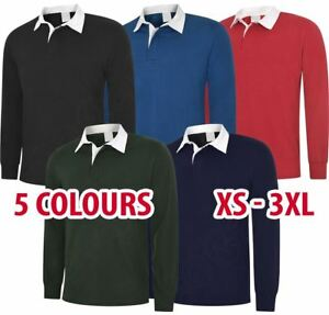 3 5 10 Pack Unisex Classic Rugby Shirt Polo Long Sleeve Sport Cotton