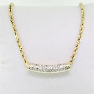 14K YELLOW GOLD 1.00 CTTW DIAMOND FLOATING TUBE NECKLACE