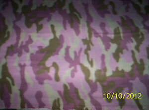 New Cream Taupe Pink Camouflage Fleece Fabric by the 1 4 yard camo