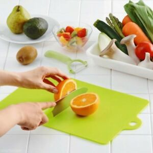 Set of 3 Flexible Cutting Board Mats Wit Label Food Icons Thick 2mm Plastic