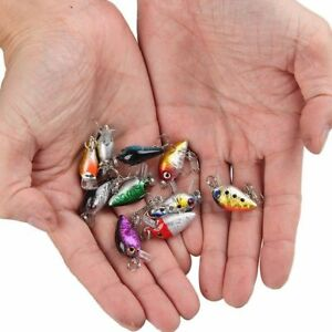 10Pc Random Fishing Lures Kinds Of Minnow Fish Bass Tackle Hooks Baits Crankbait