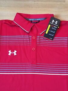Mens Under Armour Heat Gear Loose 3 Button Golf Polo Size XL Red NWT