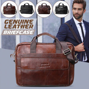 Men Vintage Genuine Leather Handbag Business Briefcase Messenger Shoulder Bag