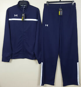 UNDER ARMOUR BASKETBALL WARM UP SUIT JACKET + PANTS NAVY BLUE NEW (SIZE LARGE)