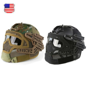 Protective Airsoft Paintball Tactical SWAT Fast Helmet wGoogles Mask USA