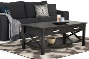 Dark Walnut Built-In Storage Coffee Table Accent Table Home Furniture Living