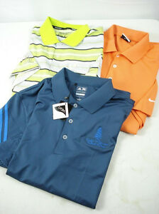 Lot of 3 Mens NIKE GOLF Dry Fit ADIDAS Coolmax Polo Shirt Assorted Colors sz L