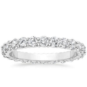 1 CARAT Round Natural Diamond Eternity Wedding Band 14k White Gold Womens Ring