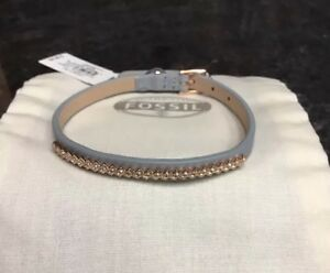 Fossil Stainless Steel Rose Gold Grey Leather Glitz Crystal JF02671791 NWT