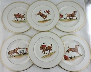 ABERCROMBIE FITCH VINTAGE EQUESTRIAN HORSEJOCKEY DINNER PLATE SET 6 SIGNED