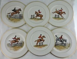 ABERCROMBIE FITCH VINTAGE EQUESTRIAN HORSEOBSTACLES DINNER PLATE SET 6 SIGNED