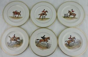 ABERCROMBIE FITCH VINTAGE EQUESTRIAN HORSEOBSTACLES SALAD PLATE SET 6 SIGNED