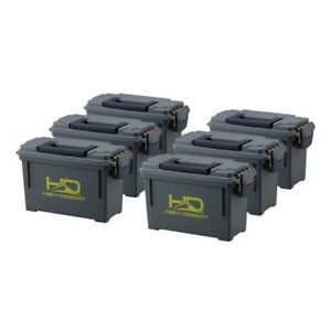 6-Pack High Desert Plastic Ammo Can Storage Boxes Polypropylene w Gasket Green