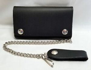 Black Leather Biker Trucker Wallet 6quot; x 3.5quot; With 12quot; Chain MADE IN USA