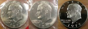 1977 P D S Eisenhower Dollar Set 1 P & 1 D BU Mint Set Dollar's 1 Clad Proof