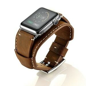 Leather Watch Band For Apple Series 3  2  1 Genuine Bracelet w Adapter Brown