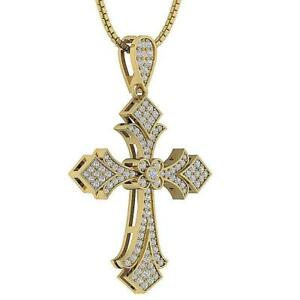 Real Diamond 0.60Ct Cross Pendant Necklace 14K Solid Yellow Gold Prong Bezel Set