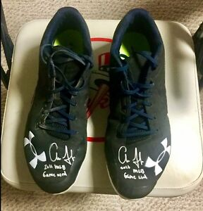 Aaron Judge 2016 TRUE ROOKIE Game Used Autographed Under Armour Cleats. Yankees