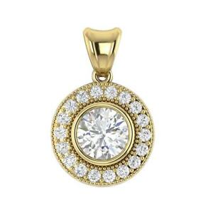 Bezel Set Halo Pendant Necklace SI1 H 0.85Ct Round Diamond Yellow Gold Prong