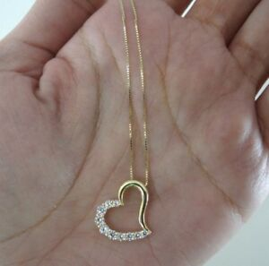 14K Yellow Gold Heart Pendant 0.25 Ct Diamond With 0.6MM Box Chain Necklace