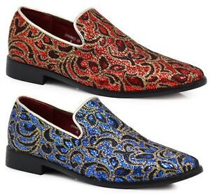 New Men Vintage Rhinestone Embroidery Designer Dress Shoes Tuxedos Loafers  SPK5