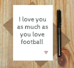 Football love card football anniversary card football fan Valentines card GBP 2.95