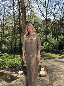 VALENTINO NWT $30000 Fully Beaded Dolman Sleeve Gown Bronze Size IT: 40