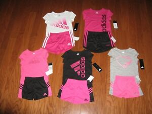 Adidas 2 Pc Outfit Set Tee Shirt &Dri Fit Shorts Girls 2T 3T 4T 4 5 6 6X NWT $48 $21.99