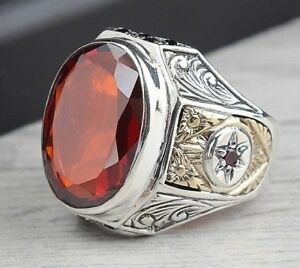 Turkish handmade 925 Sterling Silver red ruby stone Mens man ring ALL SİZE #3147