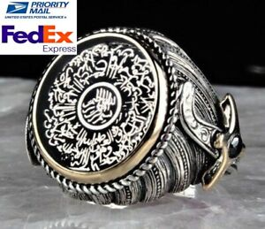 Turkish Jewelry 925 Sterling Silver AYETEL KURSİ Onyx Mens Mans Ring ALL SİZE us