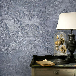 Wallpaper navy blue Metallic Textured Vintage Victorian Damask wallcoverings 3D